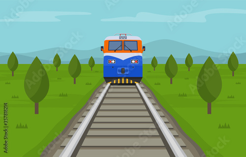 Train crossing the summer steppe Wallpaper Mural