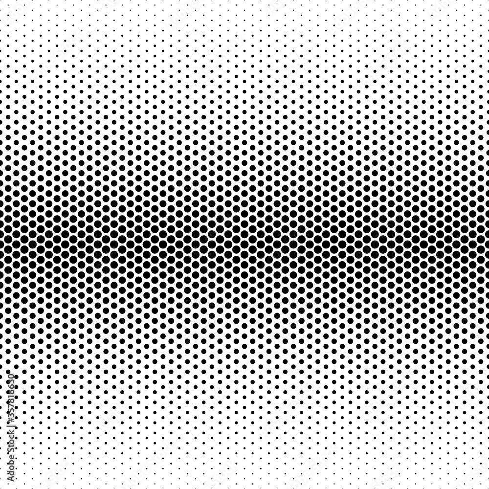 Fototapeta Seamless monochrome Halftone pattern. Transitions large to small black dots isolated on white background. Vector retro illustration in pop art style. Comic polka dots texture. Gradient Grunge Backdrop