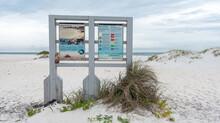 Beach Sign With Animal And Bir...