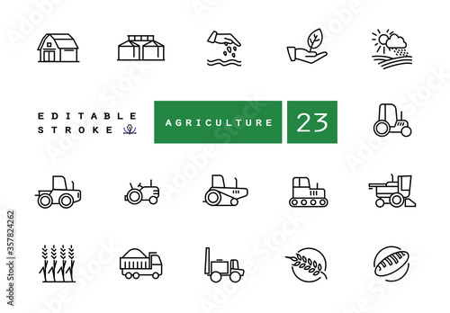 Fotomural Agricultural machinery and agribusiness vector icons set