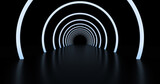 Fototapeta Perspektywa 3d - Abstract background, tunnel of glowing arcs. 3D render.