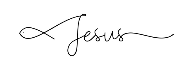 Jesus. Christian, bible, religious, churh word. Lettering typography poster, banner vector design. Jesus with ichthys - fish. Hand drawn modern vector calligraphy text - Jesus.