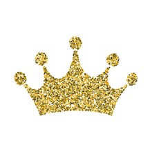 Gold Glitter Crown, Royal Sign On White Background Vector Illustration. Symbol Of Vip, Aristocracy And Monarchy. Glamour Isolated Icon With Sparkling Texture