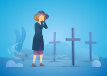 Sad Woman Grieving In A Cemetery. Woman Standing At The Gravestone Of Her Beloved Husband Or Other Close Person. Rainy Day. Family Member Death From The Coronavirus. Vector Flat Illustration Concept.