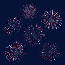 Set Of Vector Firework Design On Dark Blue Background. Fourth Of July Independence Day Of The Usa. USA Flag Color Firework Celebration