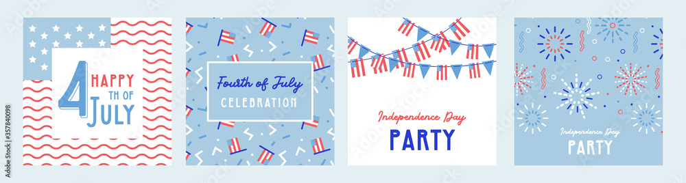 Fototapeta American Independence Day celebrations. greeting design with USA patriotic colors. Collection of greeting background designs, 4th of july, social media promotional content. Vector illustration