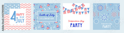 American Independence Day celebrations. greeting design with USA patriotic colors. Collection of greeting background designs, 4th of july, social media promotional content. Vector illustration - 357840098
