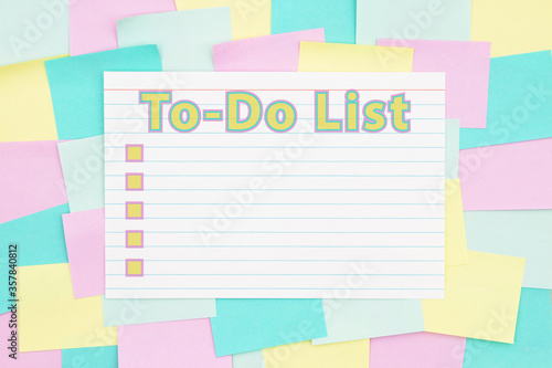 To-Do List type with checkboxes on a sticky note background with multi-color not Fototapeta