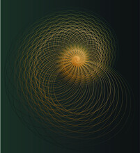 Absract Geometry. Golden Ratio In Golden Lined On Dark Green Background