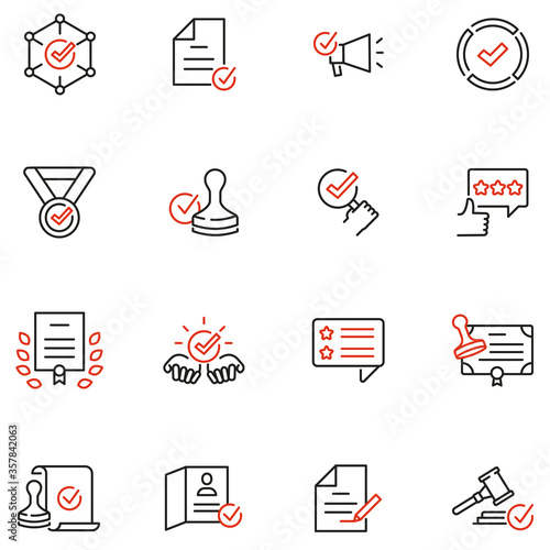 Obraz na płótnie Vector Set of Linear Icons Related to Approvement, Accreditation, Quality Check and Affirmation