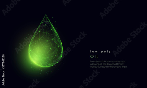 Abstract low poly falling green oil drop. Wallpaper Mural