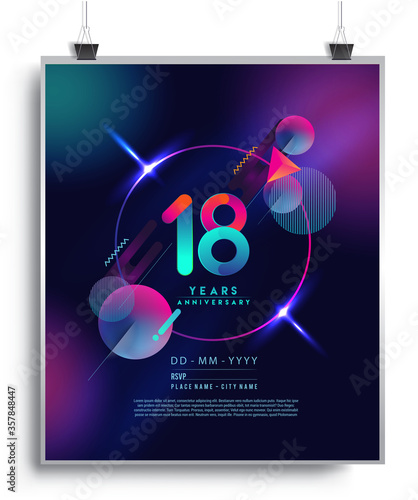 18th Years Anniversary Logo with Colorful Abstract Geometric background, Vector Design Template Elements for Invitation Card and Poster Your Birthday Celebration. Wall mural