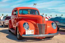 Daytona, Florida / United States - November 24, 2018: 1940 Ford Deluxe Coupe At The Fall 2018 Daytona Turkey Run.