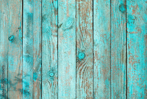 Weathered blue wooden background texture. Shabby wood teal or turquoise green painted. Vintage beach wood backdrop. - 357860470