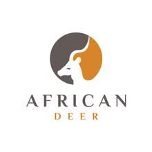 African Deer Head Logo Design/...