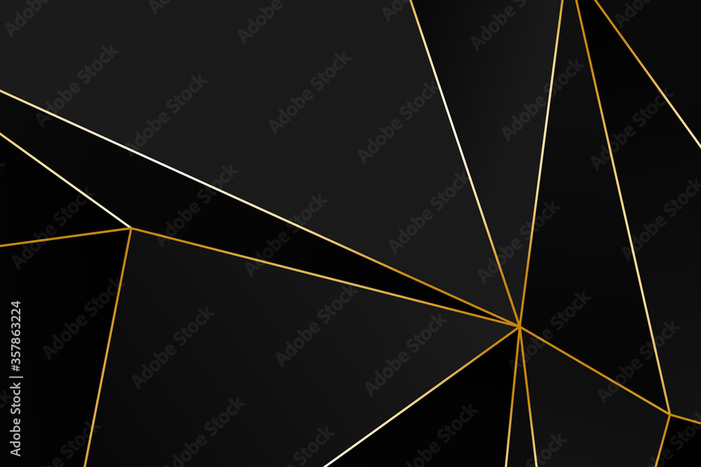Fototapeta Black and grey Premium background with luxury polygonal pattern and gold triangle lines. Low poly gradient shapes luxury gold lines vector. Black Friday background, premium triangle polygons design