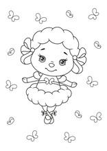 Cute Sheep Ballerina Coloring ...