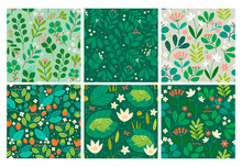 Various Branches, Flowers, Leaves, Frogs, Water Lillies. Hand Drawn Vector Illustrations. Design For Fabric, Textile, Wrapping Paper. Set Of Six Colorful Seamless Patterns, Wallpapers, Backgrounds