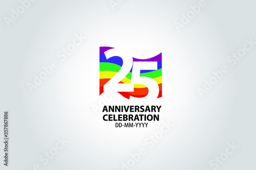 25 year anniversary celebration logotype with white number Emboss Style isolated Canvas Print