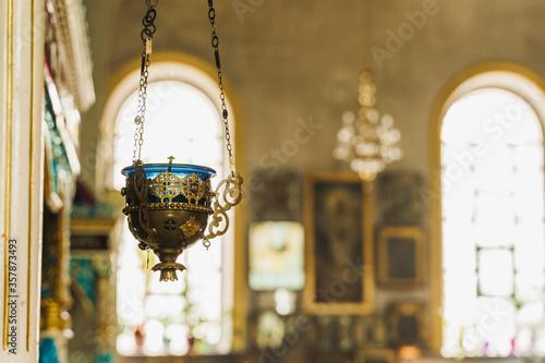 Gold censer with a bleue candlestick in the church Tapéta, Fotótapéta