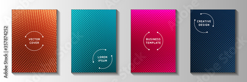 Fényképezés Trendy circle faded screen tone cover page templates vector set