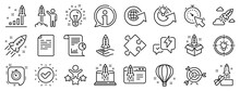 Launch Project, Business Report, Target Icons. Startup Line Icons. Strategy, Development Plan, Startup Space Rocket. Air Balloon, Out Of The Box Strategy And Business Innovation Report. Vector