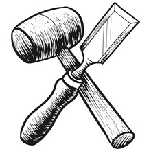 Chisel And Mallet Icon In Sket...
