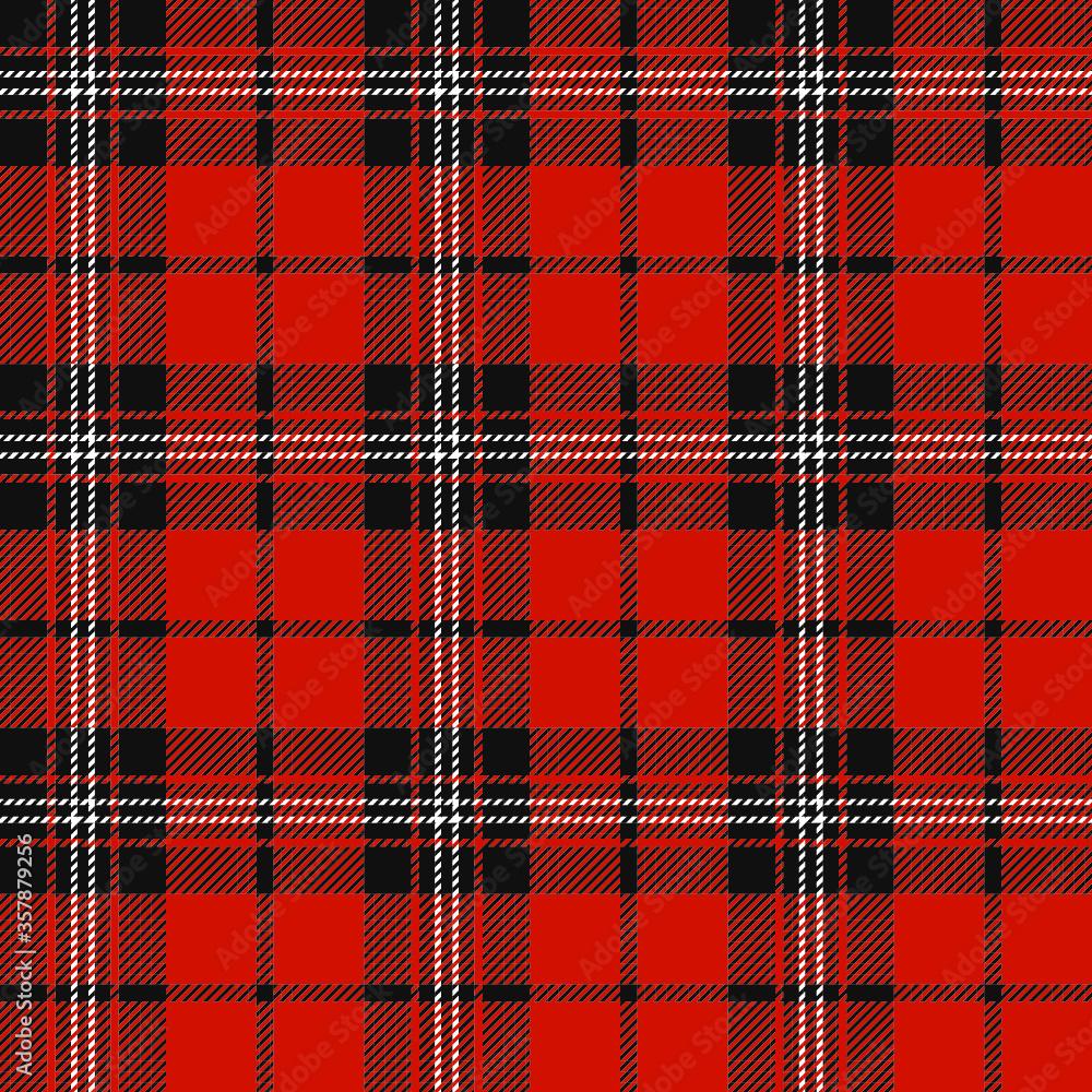 Fototapeta Tartan (plaid) seamless pattern. White and black color. Red background