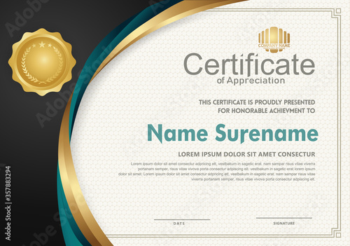 Elegant and futuristic certificate template with curved line shape ornament modern pattern,diploma Canvas Print