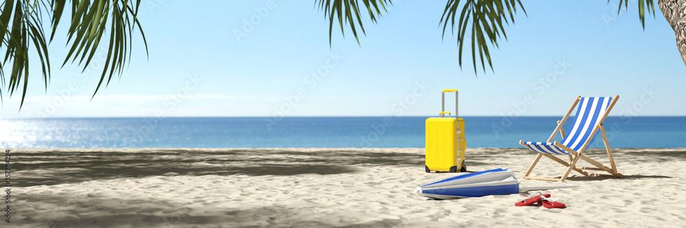 Fototapeta Leerer Karibik Strand nach Reisewarnung wegen Coronavirus
