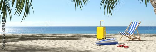 Obraz Leerer Karibik Strand nach Reisewarnung wegen Coronavirus - fototapety do salonu