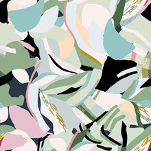 Vector Abstract Layer Shapes Seamless Repeat Pattern. Pastel Colors, Painting Brush, Fashion Print Pattern.