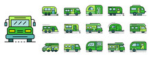 Motorhome Icons Set. Outline S...
