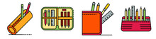 Pencil Case Icons Set. Outline...