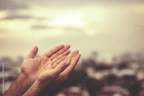 Leinwand Poster Human hands open palm up worship Praying with faith and belief in God of an appeal to the sky