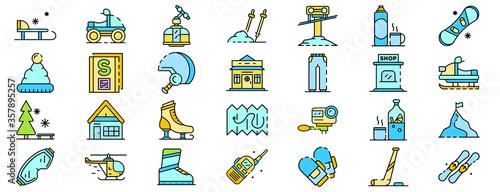 Ski resort icons set Fotobehang