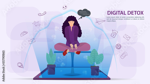 Digital detox banner concept for web and mobile sites Girl sitting in a Lotus po Canvas Print