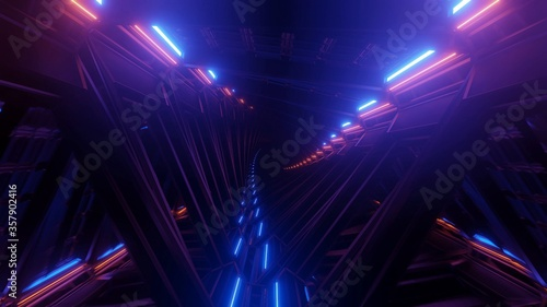 Fototapeta 3D rendering of bright neon laser lights for futuristic background or wallpaper obraz