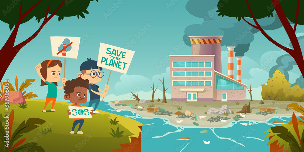 Fototapeta Eco protest, kids with save planet banners strike against ecology pollution at factory with smoking pipes, rubbish floating in polluted ocean, lie on beach, deforestation. Cartoon vector illustration