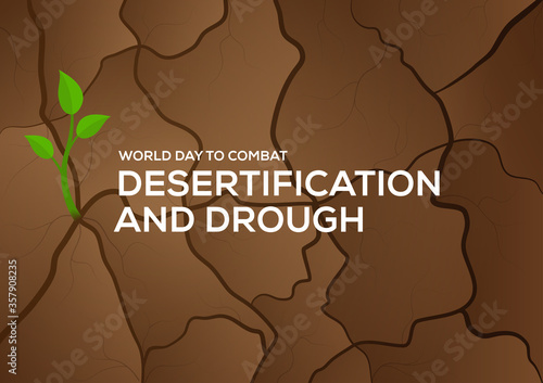 world day to combat desertification and drought with growing tree background Fototapeta