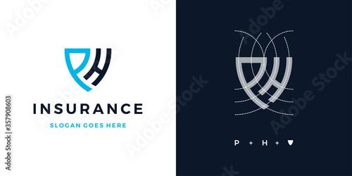 Fototapeta Insurance letter PH logo symbol icon design vector