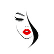 Beautiful woman face with red lips, lush eyelashes,  black hair, stylish hairstyle. Beauty Logo. Hairdresser studio. Wallpaper background. Vector illustration.