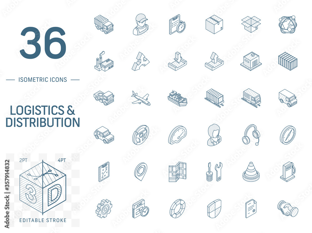 Fototapeta Isometric line art icon set. Vector illustration with Logistic, delivery business, distribution symbols. Service, export, shipping, transport pictogram. 3d technical drawing. Editable stroke
