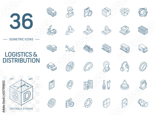 Fototapeta Isometric line art icon set. Vector illustration with Logistic, delivery business, distribution symbols. Service, export, shipping, transport pictogram. 3d technical drawing. Editable stroke obraz