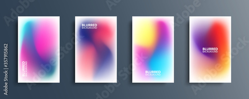 Blurred backgrounds set with modern abstract blurred color gradient patterns on white Tapéta, Fotótapéta
