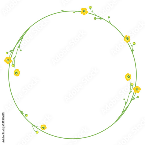 Round floral frame with branches of Meadow buttercup flowers Canvas Print