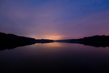 Mazury Warmia Jezioro zachód słońca woda