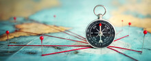 Magnetic Compass  And Location Marking With A Pin On Routes On World Map. Adventure, Discovery, Navigation, Communication, Logistics, Geography And Travel Concept Background.. Very Shallow Focus.