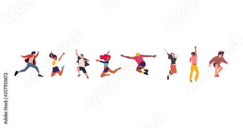 Fototapeta Happy jumping people flat vector illustration. Cheerful corporate employees cartoon characters set. Young male and female people in casual clothes isolated clipart. Diverse group of people. obraz na płótnie
