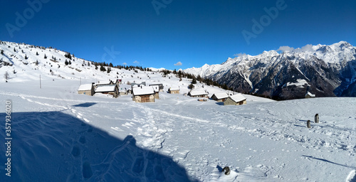 Mountain panorama of the ski area in the Lepontine Alps #357936020